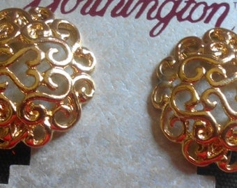 Vintage Worthington Clip On Earrings, Gift for her, Golden earrings