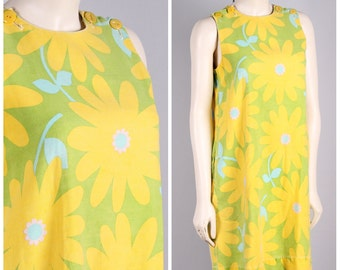 vintage 1960s MOD dress yellow & green flower power a line shift go go mini dress w/ POCKETS! size small medium
