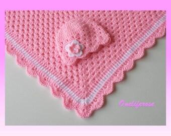 Newborn Bayb  Blanket Set ,Crochet Baby Blanket, Handmade Baby Blanket, Baby Boy Blanket,Baby Girl Blanket,BabyPink Color