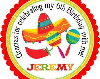 Fiesta Party Stickers, Mexican Fiesta Party Labels, Cinco De Mayo Party -Set of 12