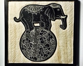 Hand Carved Elephant Wall Art / Woodcut