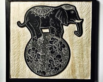 Hand Carved Elephant Wall Art / Woodcut