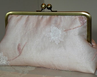 Silk Organza Clutch/Purse/Bag..Hands Free Wrap..Embroidered Beads Floral..Pink Ivory..Bridal..Evening..Party..Free Monogram.