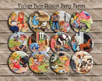 "Vintage Farm Children Party Favors 2.25"" Pin Back Buttons, Mirrors, or Magnets, Set of 12, Showers, Birthday Parties"