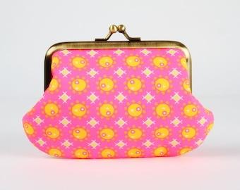 Metal frame purse - Pamplemousse rose - Daddy purse / Petit Pan french fabric / Neon pink / Neon orange / Lime green yellow / Grapefruit