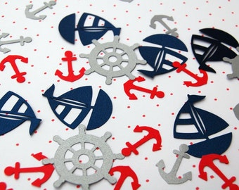 Nautical 250 pieces party decor picnic table confetti sailboat anchor wheel red silver navy