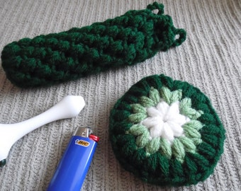 "Glass Pipe Case, Hunter Green Large 8"" Pipe bag, Glassware bag, Drawstring cushioned bag, Stash bag, Headphones case"