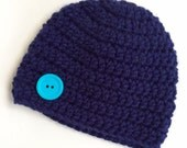 Newborn girl 0-3 months baby hat beanie navy dark blue boy infant hat baby photo prop Ready To Ship
