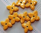 4 X Flower Beads - Cheery Yellow - Handmade Ceramic Beads