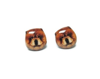 Cute Brown Chow Chow Stud Earrings - A025ER-D12   Made To Order