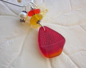 Red Yellow Sea Glass Necklace Rare Beach Seaglass Jewelry  Pendant