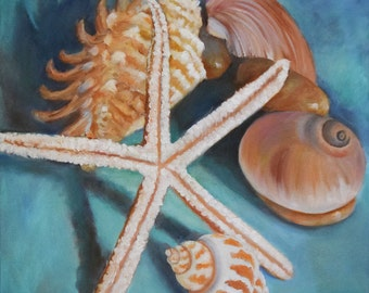 Still Life Painting, Beach Seashells,Summer Cottage, Original Canvas Art by Cheri Wollenberg