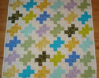 Baby, Quilt, bedding, blanket, 36 x 47, pastel, infant,child, blue, green,