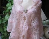 Vintage pale pink hand made crochet shawl wrap, pink shoulder wrap, Glentex made Japan pastel pink woven shawl, summer shoulder wrap