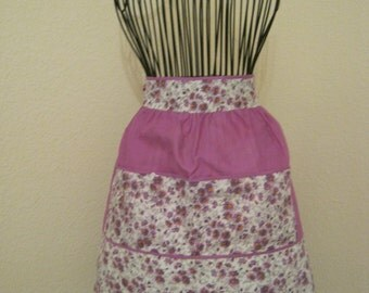 Vintage spring perfect purple daisies apron, lavender flowers apron, happy lilac purple daisies apron