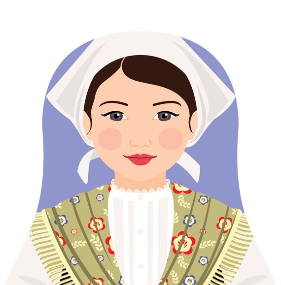 Croatian Istrian Doll Art Print with traditional dress matryoshka