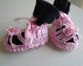 lace and beaded newborn baby booties