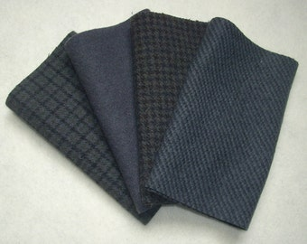 "Hand Dyed Wool Felt, CHIMNEY SWEEP, Four 6.5"" x 16"" pieces in Dark Gray, Great for Backgrounds"