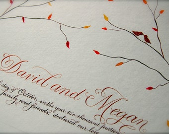 Custom Marriage Certificate featuring Hand Calligraphy, Birds Branches and Leaves, Copper Chocolate and Orange, Quaker Marriage Certificate