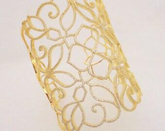 Gold Wedding bracelet, Crystal Bridal bracelet, Wedding jewelry, Cuff bracelet, Sterling silver bracelet, Statement bracelet, Vintage style