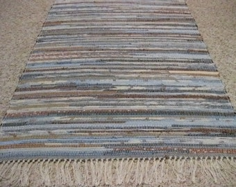 Handwoven Brown and Blue Multi Rag Rug 25 x 54 (M)
