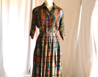 50s Shirt Dress McMullen Marshal Field Co 24 Inch Waist