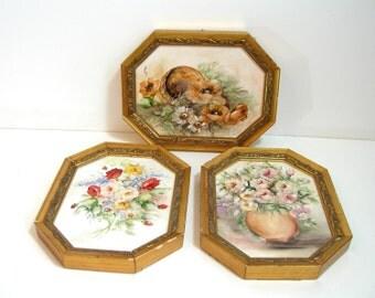 Framed Ceramic Plaques, Hand Painted Floral Arrangements