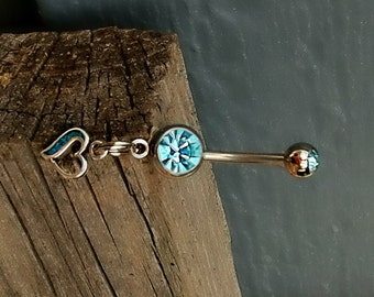 Navel Jewelry, Turquoise Heart, Sterling Silver