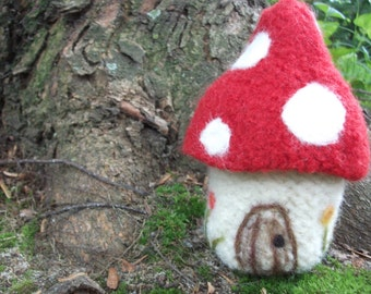 Mushroom house toy or fun storage, toadstool spotted house, hand knit and felted wool house toy or basket, small size, made to order