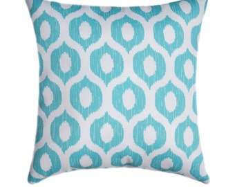 Turquoise Outdoor Pillow, Swavelle Mill Creek Tropix Vroome Atlantis Turquoise Modern Geometric Ogee Outdoor Throw Pillow