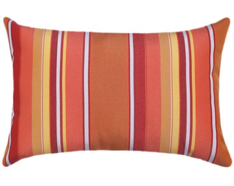 Sunbrella Dolce Stripe Mango Vertical Striped Outdoor Decorative Throw Pillow 56000-0000