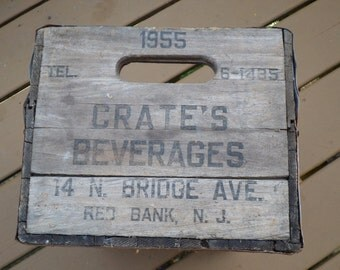 Crate's Beverages N. Bridge Ave Red Bank NJ wood metal strap seltzer soda case 1955 wooden crate