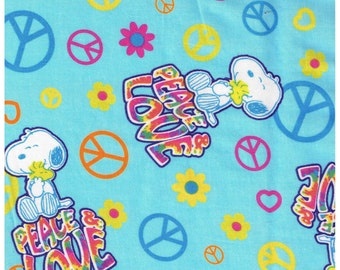 1/2 Yard Cut Snoopy Love and Peace Signs Woodstock Cotton Fabric for Sewing Crafts .5 Yd Light Blue Hearts Flowers