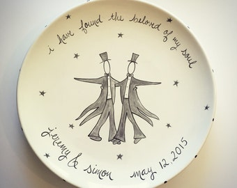 custom hand painted personalized wedding platter for two men