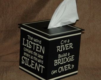 Tissue Box Cover ~ 4 Encouraging Phrases