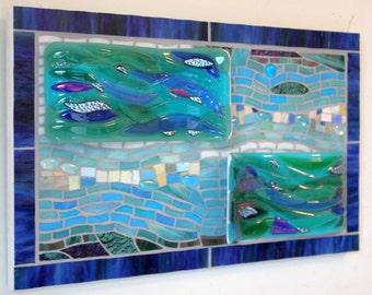 CLEARANCE SALE:  Mosaic Art, Stained Glass, Fused Glass, Waves, Ocean, Sea, Water, Beach, Turquoise, Green, Blue