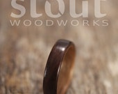 Indian Rosewood Bentwood Ring Lined With Walnut- Handcrafted Wooden Ring