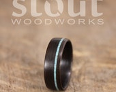 Ziricote Bentwood Ring with Offset Turquoise Inlay - Handcrafted Wooden Ring