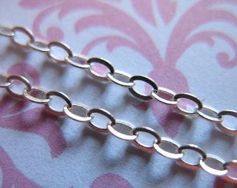 Shop Sale..  Sterling Silver Chain Bulk , 2.5 Flat Cable Chain, Oval Links, medium weight, wholesale, mmss m55 hp