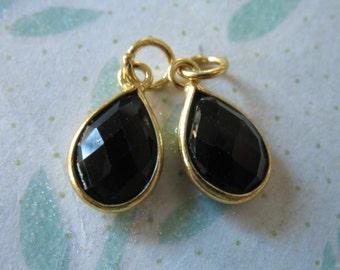 Sale, 1 5 10 pc, Bezel Charm Pendant Gem, Bezel Gemstone, BLACK SPINEL, 24k Gold over Sterling Silver, 14x8.25 mm gcp4 gp ll
