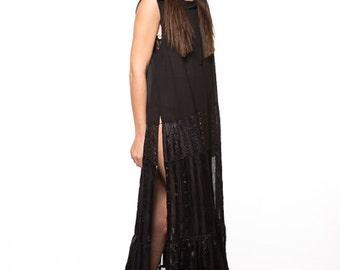 Swim Suit Cover Long Dress Kaftan Sheer size small medium  Black with Hood