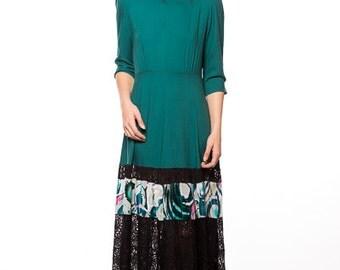 Long Dress Green  Sheer Lace size Medium Black Brown  Noir Lace