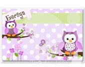 Kids PLACEMAT Purple Owl Children's Personalized Wipe-able Place Setting Mat Learn to Set the Table Laminated Kids Placemat with Name