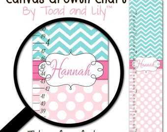 Canvas GROWTH CHART Pink and Aqua Chevron and Dots Girls Kids Bedroom Baby Nursery Wall Art Personalized Canvas Growth Chart GC0266