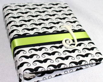 BABY Journal, Baby Memory Book, Milestone Book, Little Man, Mustache Fabric, Black, Cream and Lime Green, Custom Color Schemes available