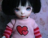 Pink and Red Hearts Pukifee Outfit bjd abjd Skirt Shirt Socks