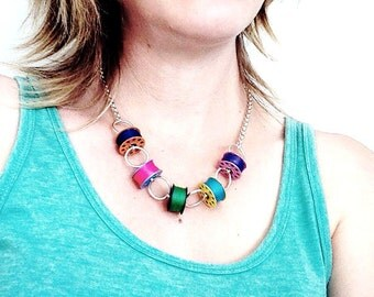 Real bobbin necklace. Sewing machine bobbin necklace. Bobbin necklace. Festival necklace. Bobbins.