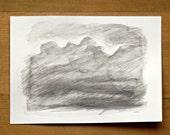 cloud original pencil drawing sketch 4 x 6 inch small format  art abstract modern