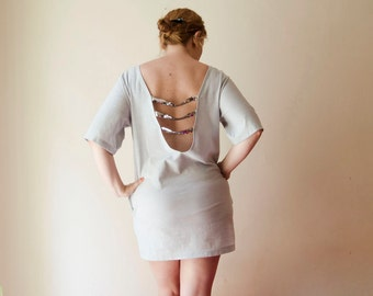 Backless Dress Jersey Mini Dress Light Grey Glitter with Sleeves Pockets Sequins
