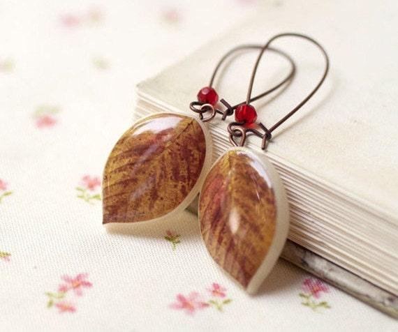 Caramel Leaf earrings  (E031)